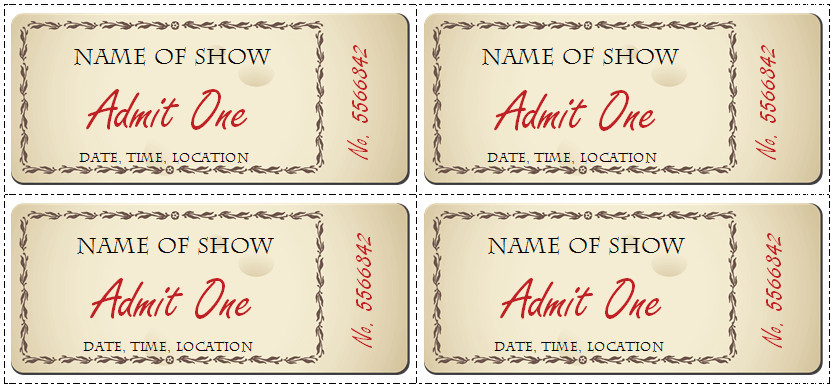 Free Printable Ticket Templates 6 Ticket Templates for Word to Design Your Own Free Tickets