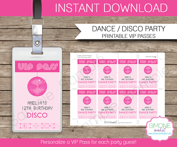 Free Printable Vip Pass Template Dance Party Vip Passes Template Disco Party