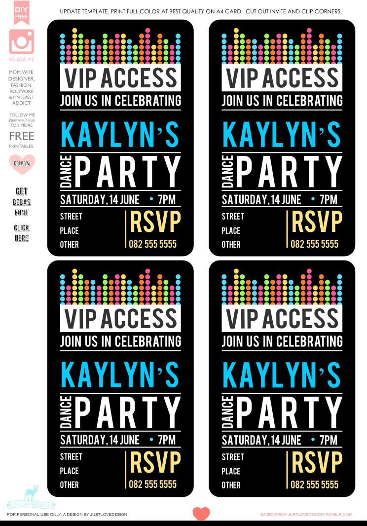 Free Printable Vip Pass Template Diy Free Vip Party Invite Template Hi All Thank You All