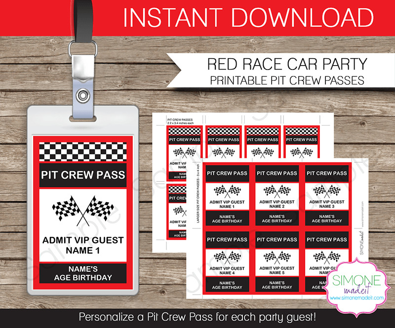 Free Printable Vip Pass Template Race Car Party Pit Crew Passes Template