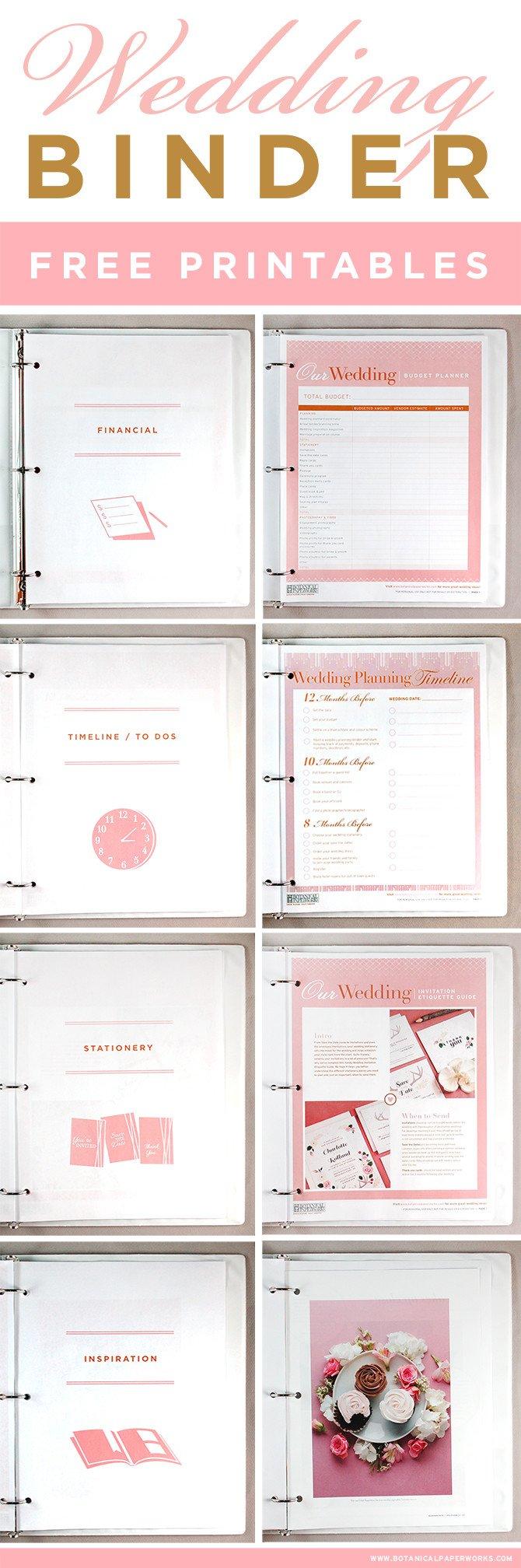 Free Printable Wedding Binder Templates Free Printables Wedding Planning Binder