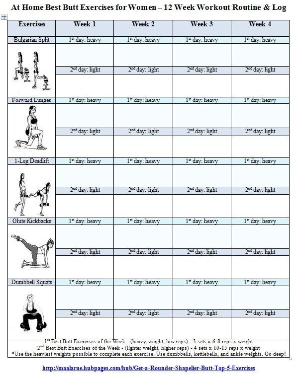 Free Printable Workout Log Best butt Workouts for Women Free Printable 12 Week butt