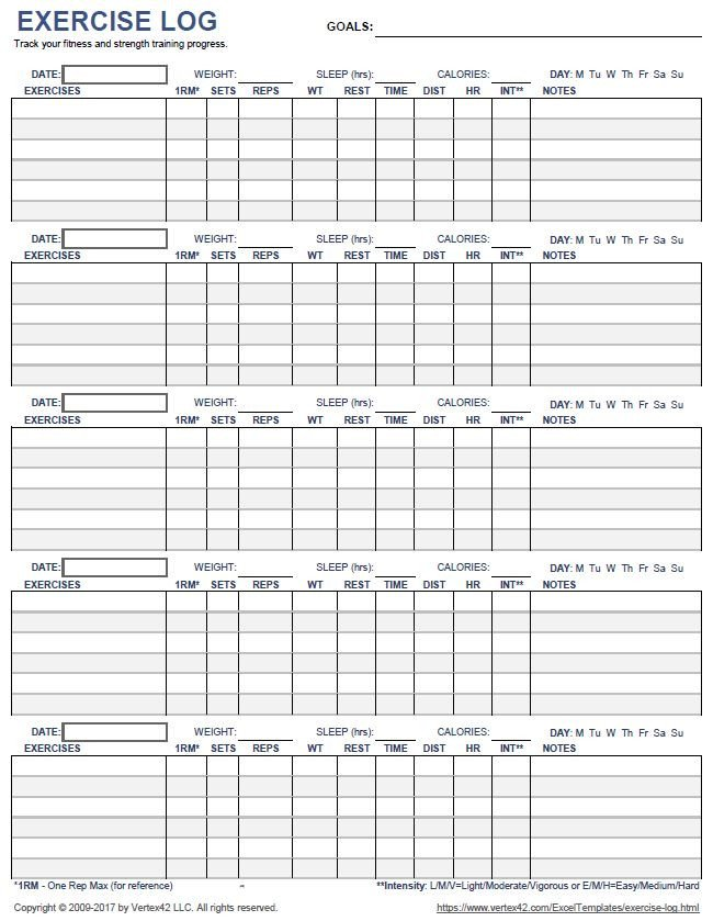 Free Printable Workout Log Download A Printable Exercise Log to Track Your Daily
