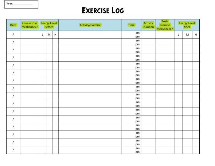 Free Printable Workout Log Exercise Log Template 8 Plus Training Sheets