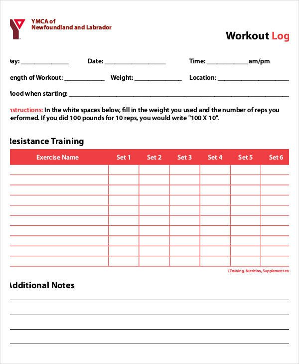 Free Printable Workout Log Printable Workout Log 8 Free Pdf Documents Download