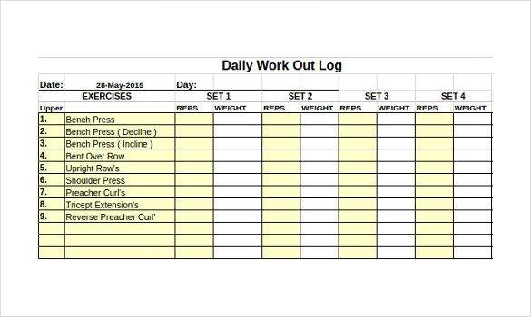 Free Printable Workout Log Workout Log Template – 14 Free Word Excel Pdf Vector
