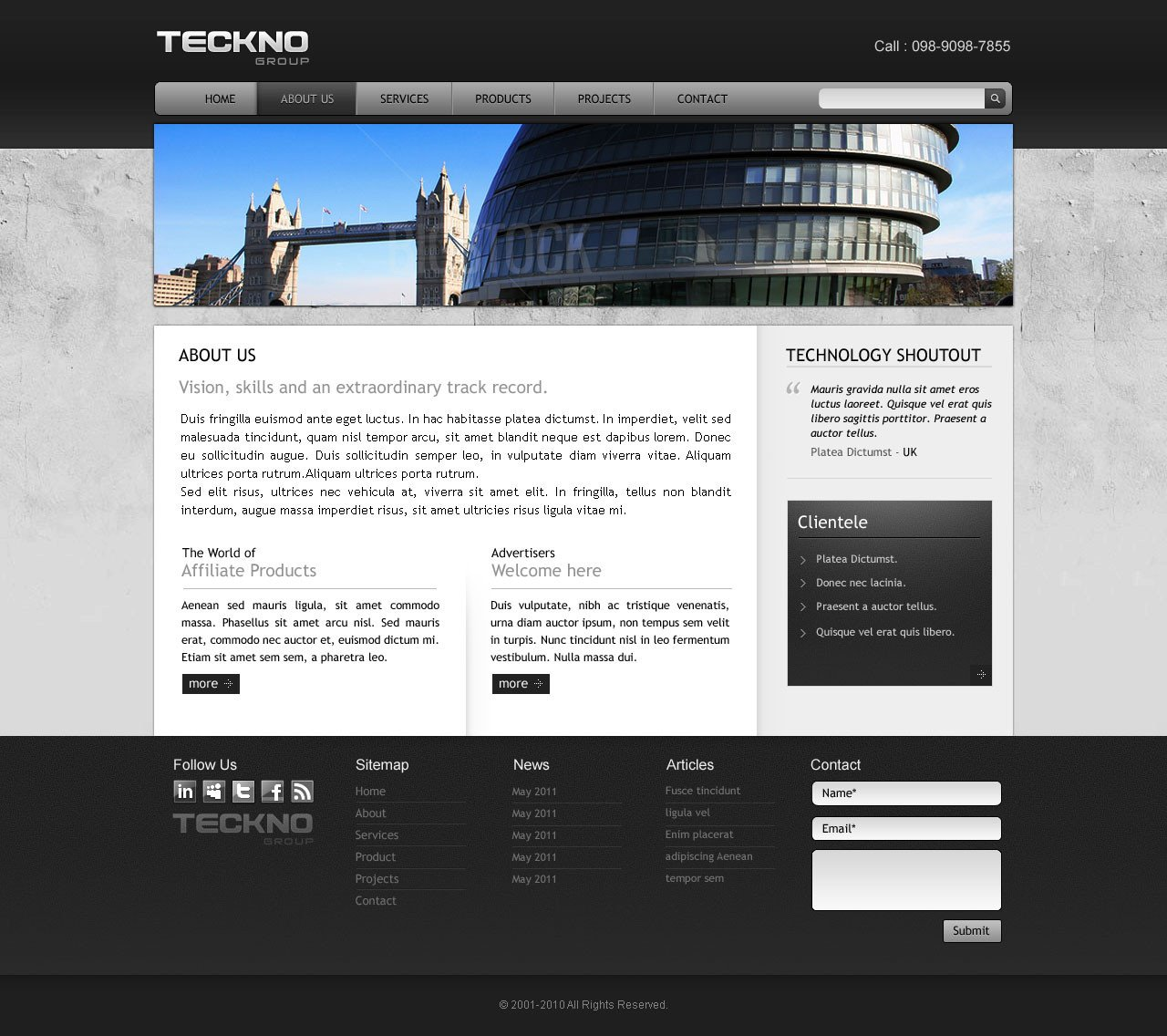 Free Professional Dreamweaver Templates Template 3 Industrial Website Overview