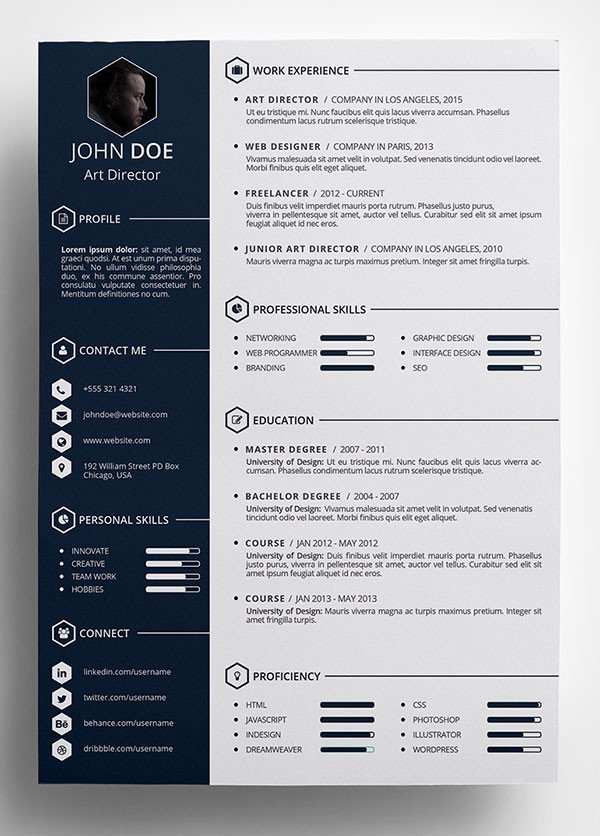 Free Psd Resume Templates 10 Best Free Resume Cv Templates In Ai Indesign Word