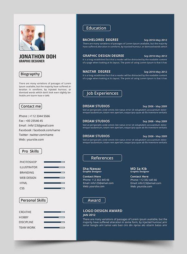 Free Psd Resume Templates 15 Free Elegant Modern Cv Resume Templates Psd