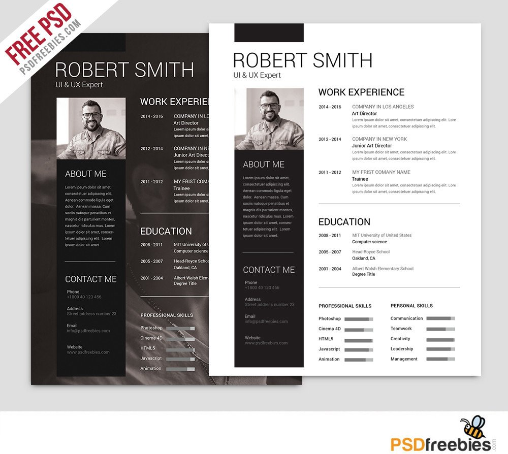 Free Psd Resume Templates 25 Best Free Resume Cv Templates Psd Download Psd