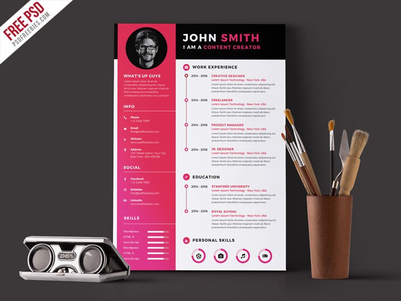 Free Psd Resume Templates 55 Premium & Free Psd Cv Resumes for Creative People to