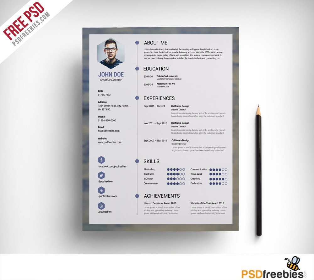 Free Psd Resume Templates Free Clean Resume Psd Template