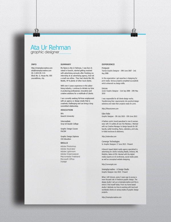 Free Psd Resume Templates Free Minimalistic Resume Template Psd Titanui