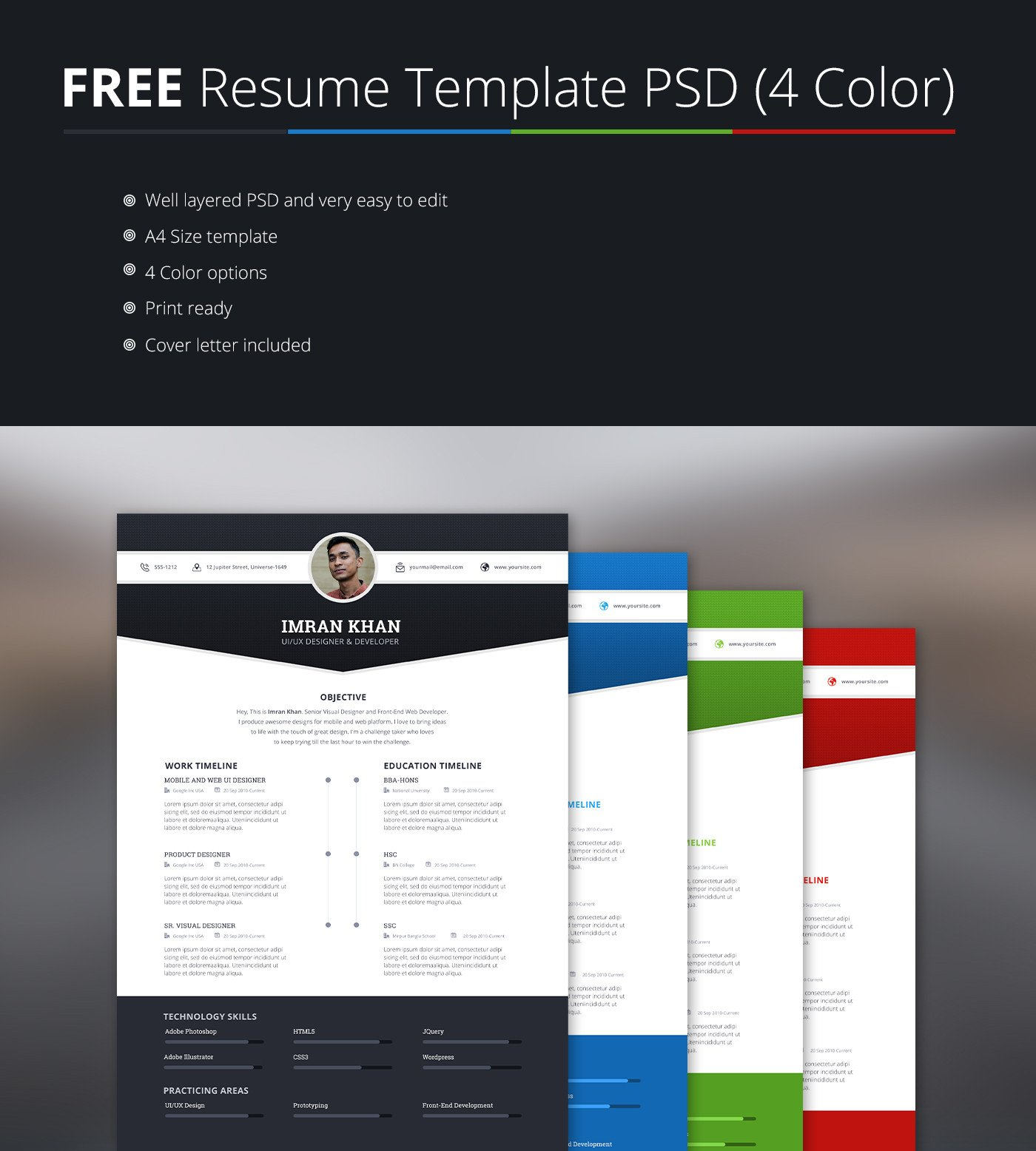 Free Psd Resume Templates Free Resume Template Psd 4 Colors On Behance