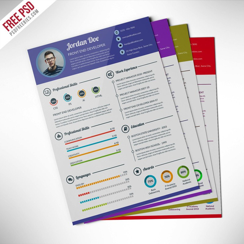 Free Psd Resume Templates Professional Resume Cv Template Free Psd