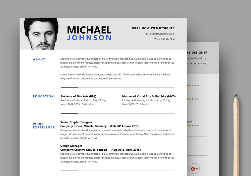 Free Psd Resume Templates Resume Cv Psd Template Graphicsfuel