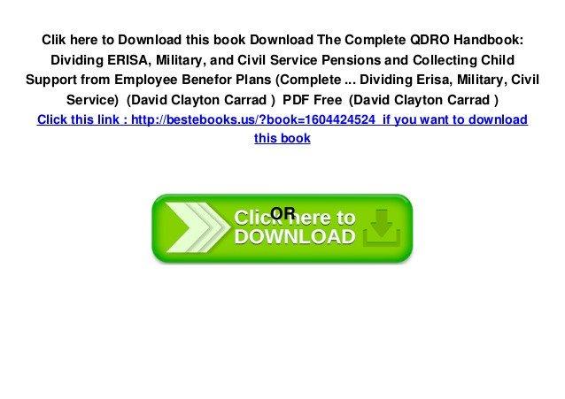 Free Qdro form Download Download the Plete Qdro Handbook Dividing Erisa