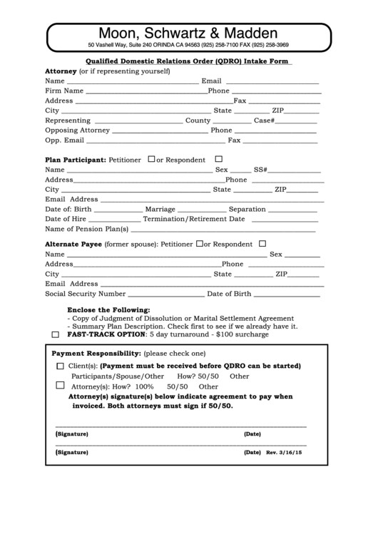 Free Qdro form Download Fillable Qualified Domestic Relations order Qdro Intake