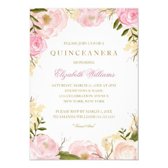 Free Quinceanera Invitation Templates Elegant Pink Rose Quinceanera Invitation