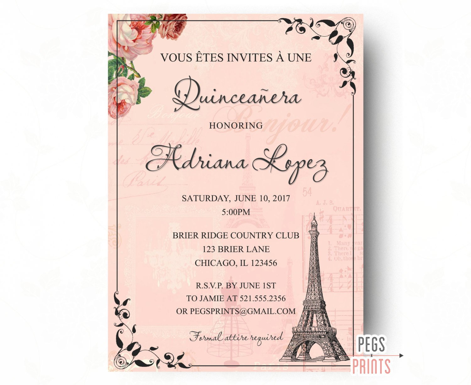 Free Quinceanera Invitation Templates Paris Quinceanera Invitation Quinceanera Invitation