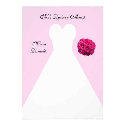 "Free Quinceanera Invitation Templates Pink Quince Anos Quinceanera Invitation Template 5"" X 7"