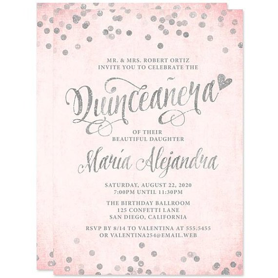 Free Quinceanera Invitation Templates Quinceañera Invitations Blush Pink & Silver Confetti