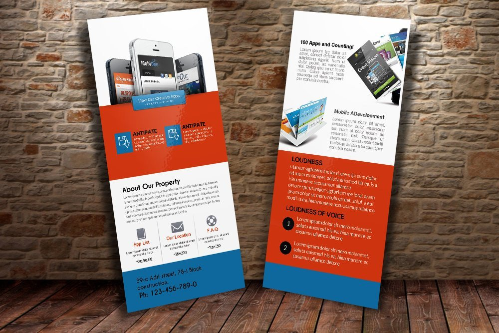Free Rack Card Mockup Mobile Apps Rack Card Template Card Templates Creative