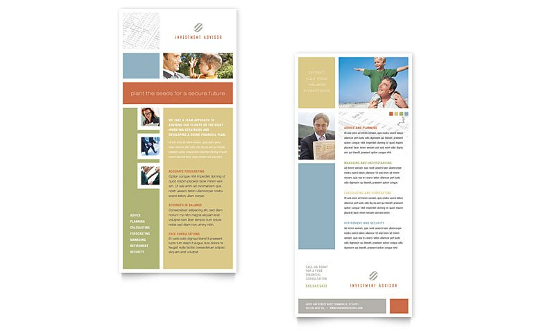 Free Rack Card Template Investment Advisor Rack Card Template Word & Publisher