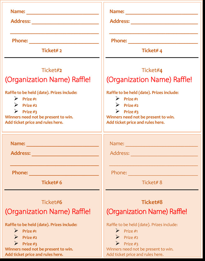 Free Raffle Ticket Template 20 Free Raffle Ticket Templates with Automate Ticket