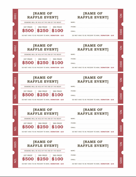Free Raffle Ticket Template Raffle Tickets
