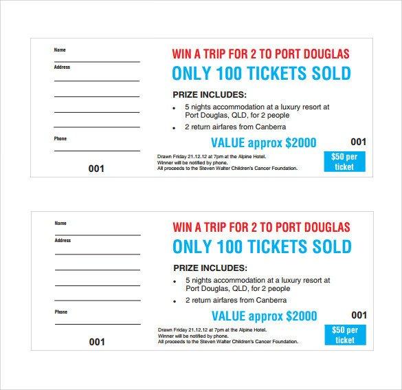 Free Raffle Ticket Template Sample Raffle Ticket Template 20 Pdf Psd Illustration