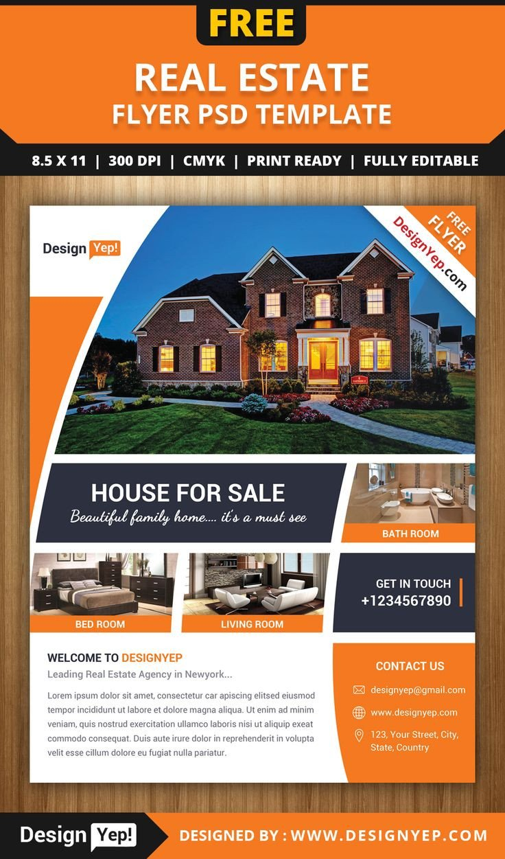 Free Real Estate Brochure Templates Free Real Estate Flyer Psd Template 7861 Designyep