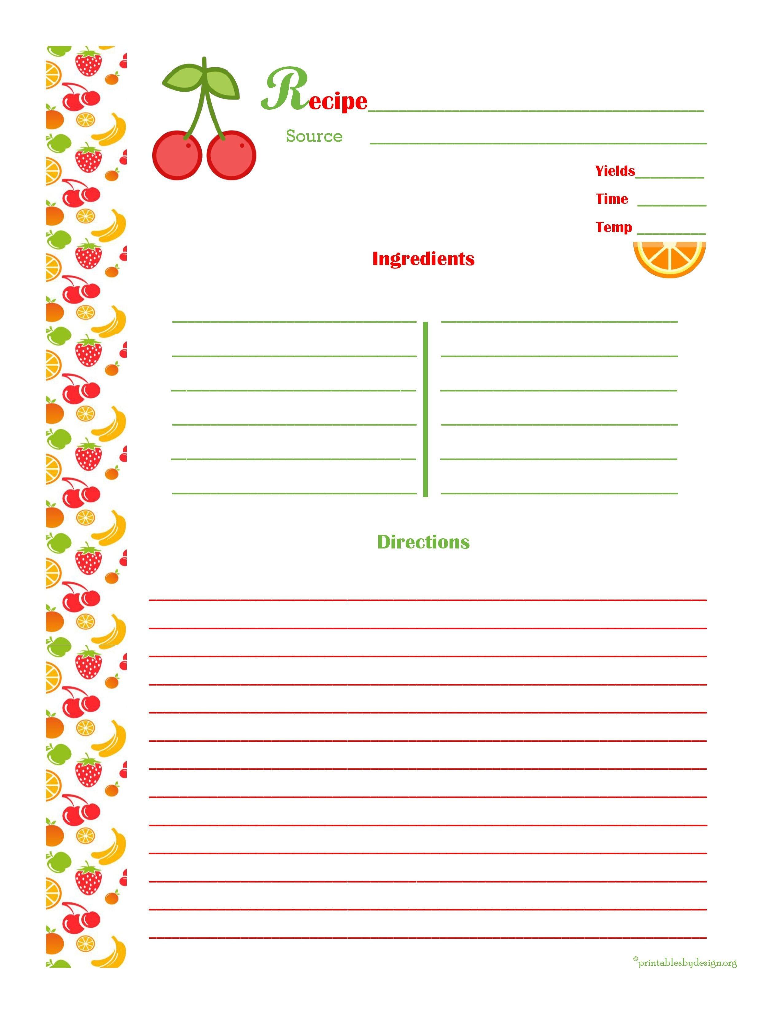 Free Recipe Book Template Cherry & orange Recipe Card Full Page