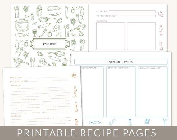 Free Recipe Book Template Diy Custom Recipe Binder Cookbook Printable Pages 40