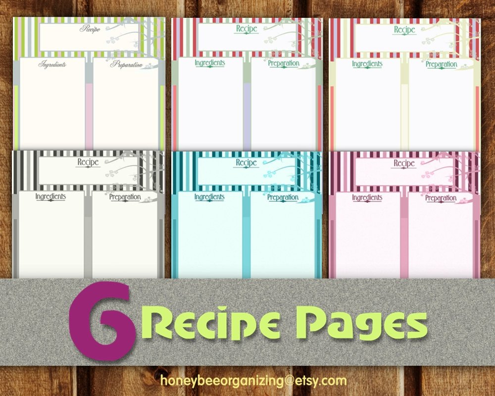 Free Recipe Book Template Recipe Pages Instant Download Blank Cooking Book