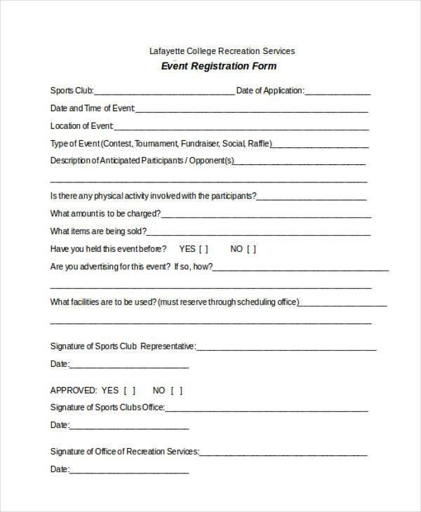 Free Registration forms Template Registration form Templates