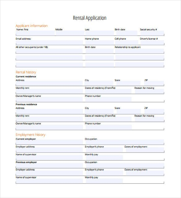 Free Rental Application form Template Rental Application – 18 Free Word Pdf Documents Download