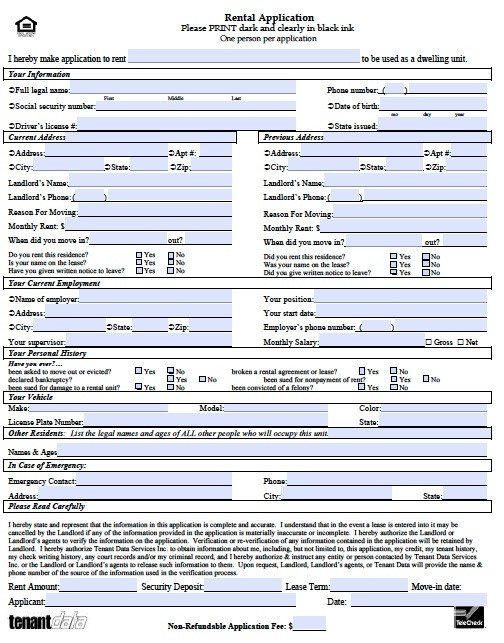 Free Rental Application form Template Rental Application Template