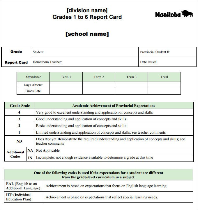 Free Report Card Template Report Card Template 28 Free Word Excel Pdf Documents