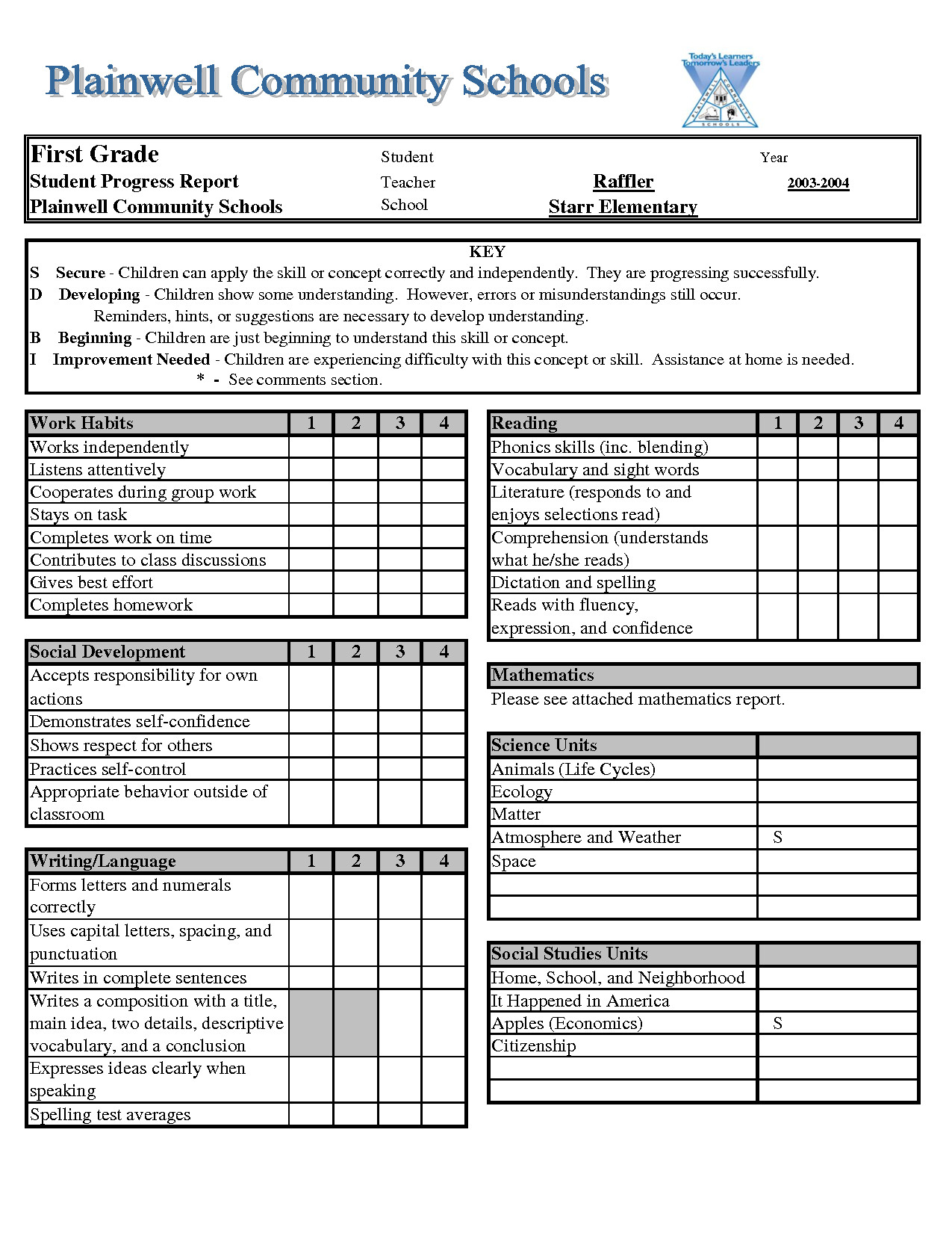 Free Report Card Template Report Card Template Excel Xls Download Legal Documents