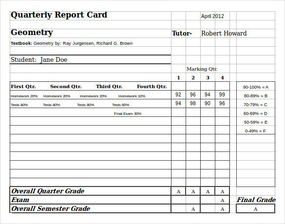 Free Report Card Template Sample Homeschool Report Card 7 Documents In Pdf Word