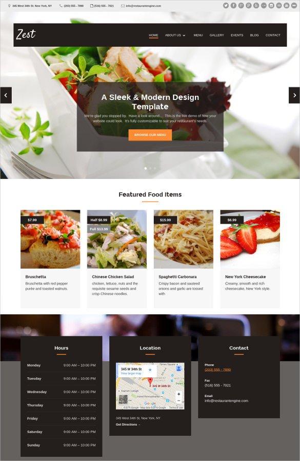Free Restaurant Website Templates 34 Restaurant HTML5 Website themes & Templates