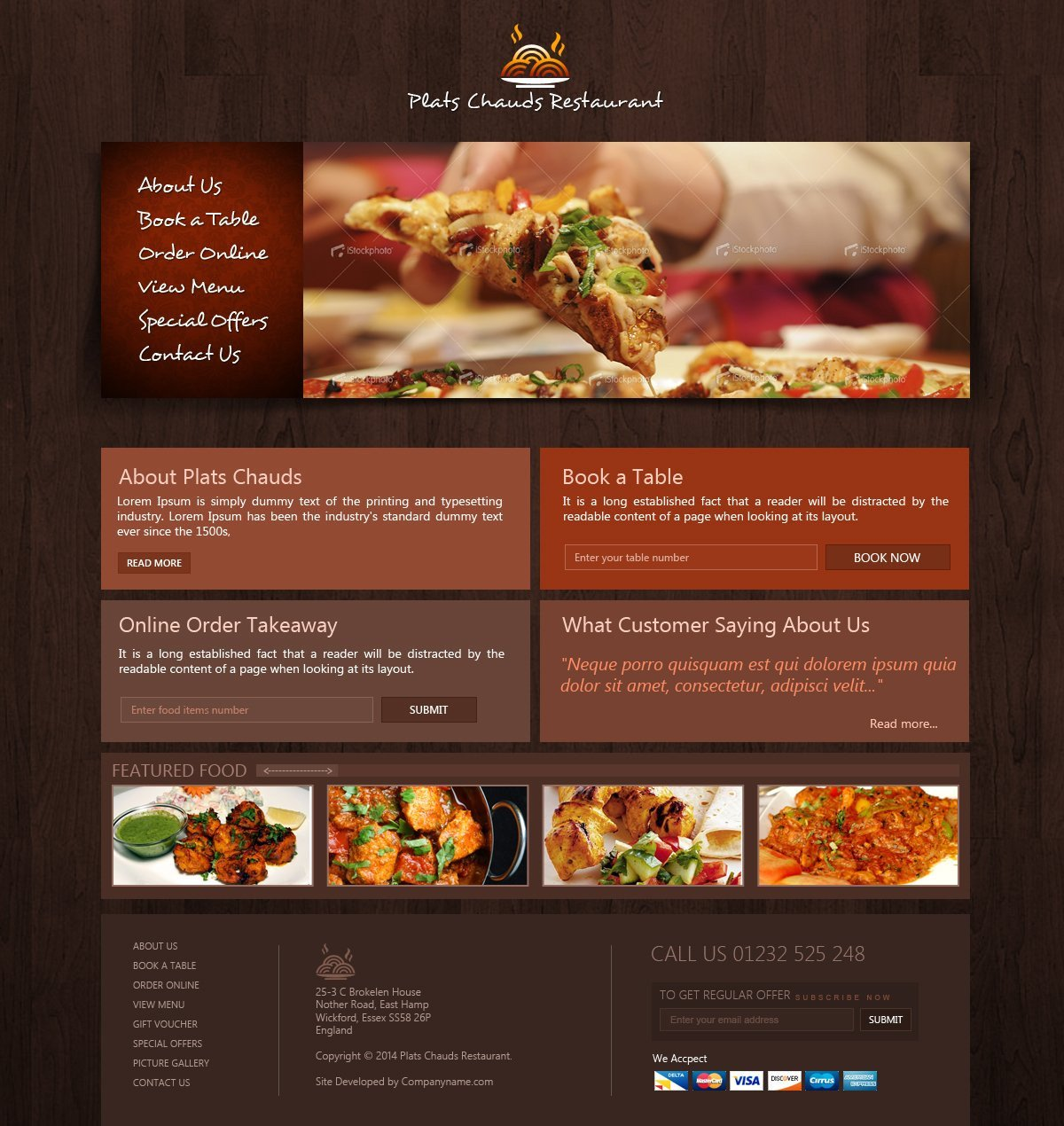 Free Restaurant Website Templates Free Restaurant Website Template Creativegeek