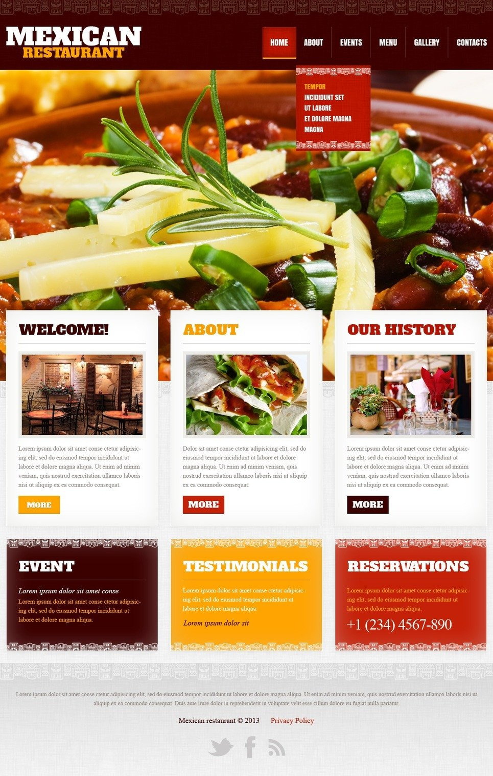 Free Restaurant Website Templates Mexican Restaurant Website Template