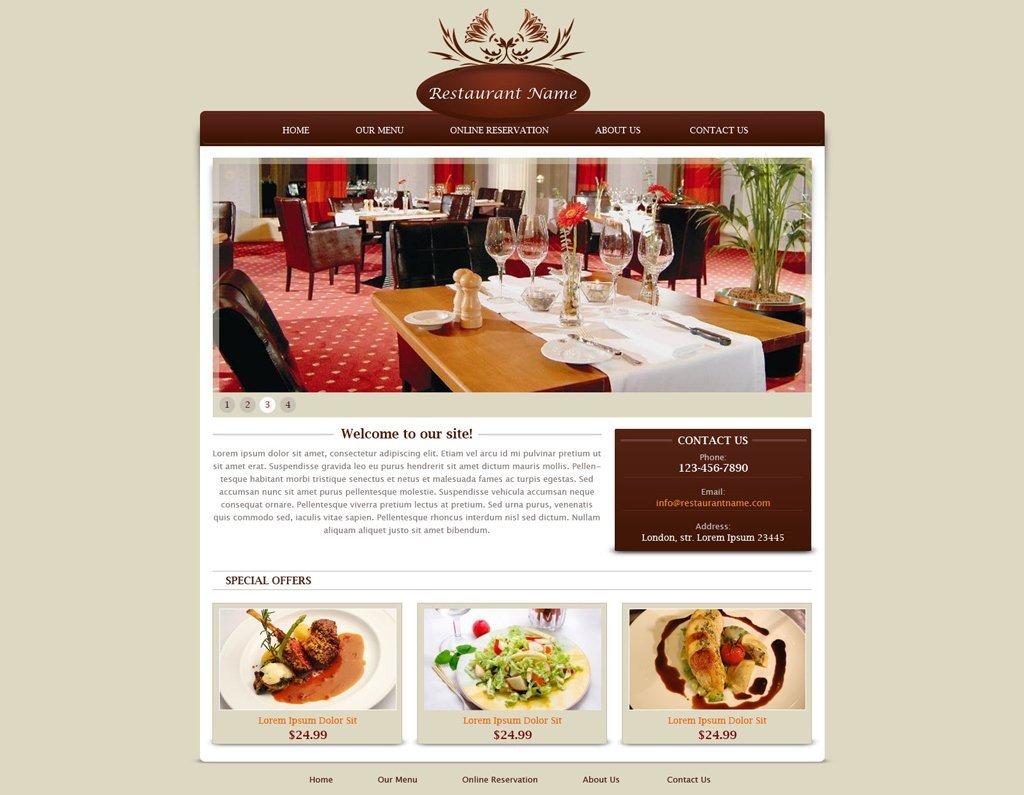 Free Restaurant Website Templates Restaurant Website Template