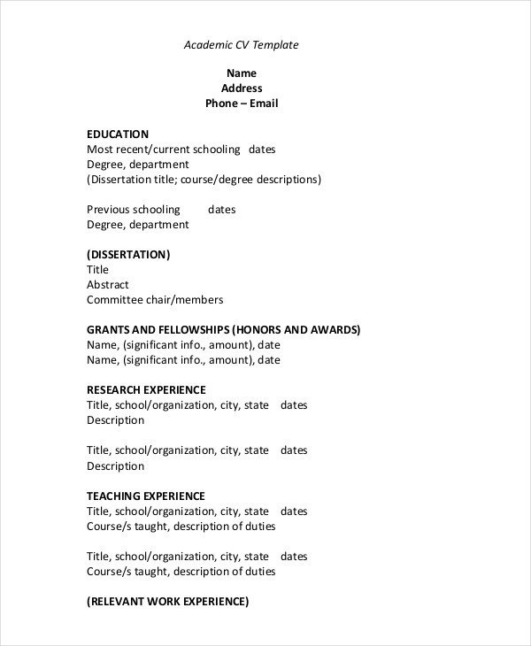 Free Resume Template Pdf 35 Sample Cv Templates Pdf Doc