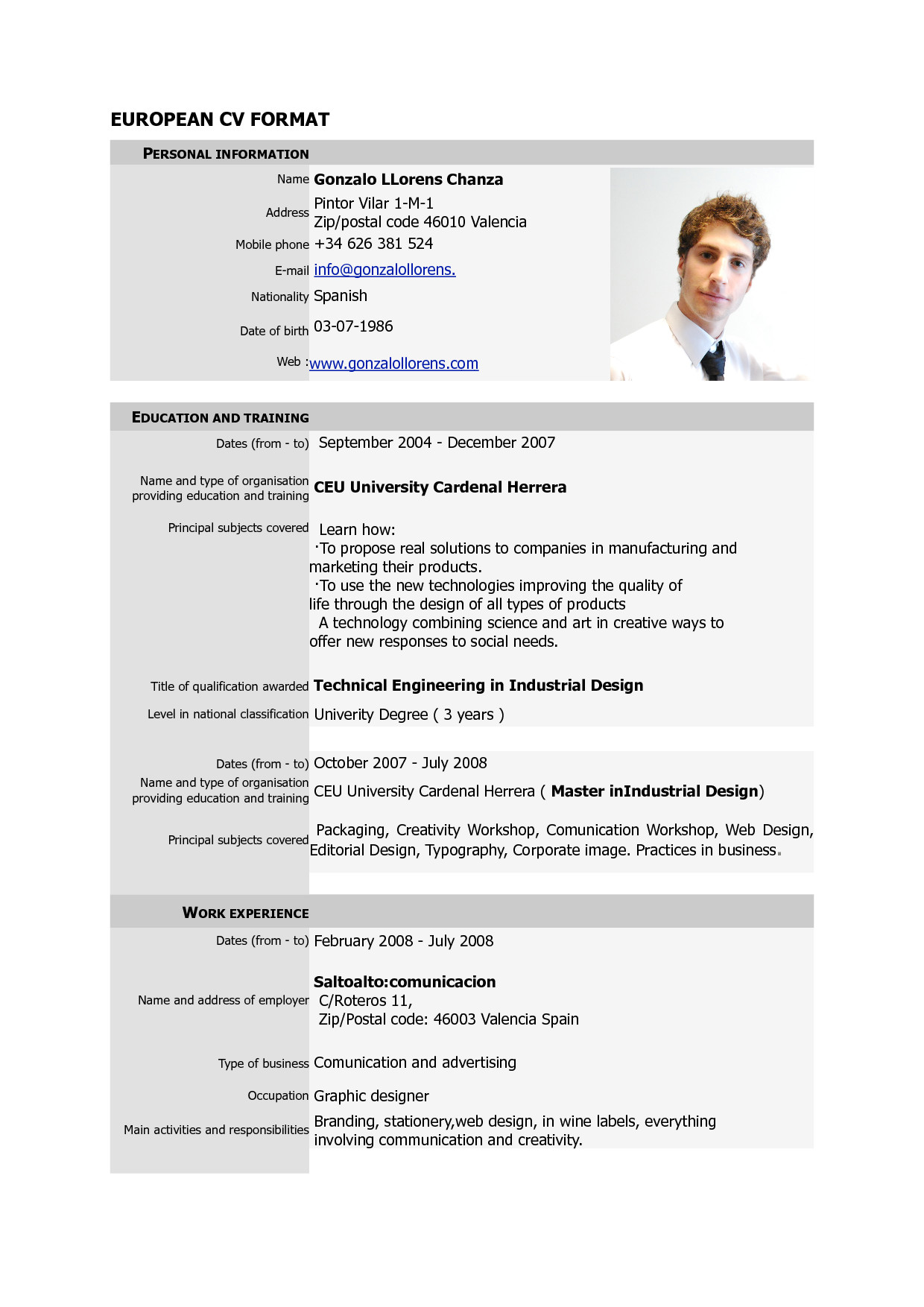 Free Resume Template Pdf Free Download Cv Europass Pdf Europass Home European Cv