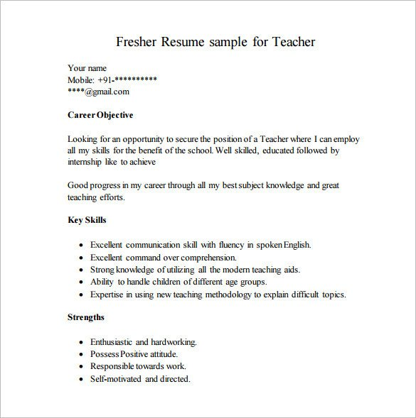 Free Resume Template Pdf Resume Template for Fresher – 10 Free Word Excel Pdf