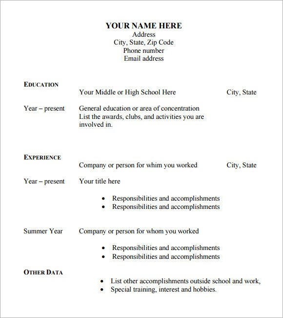 Free Resume Template Pdf Sample Blank Cv 6 Documents In Pdf Word