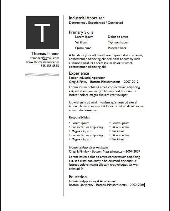 Free Resume Templates for Pages Resume